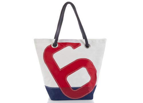 Shopping bag made of recycled sailcloth.