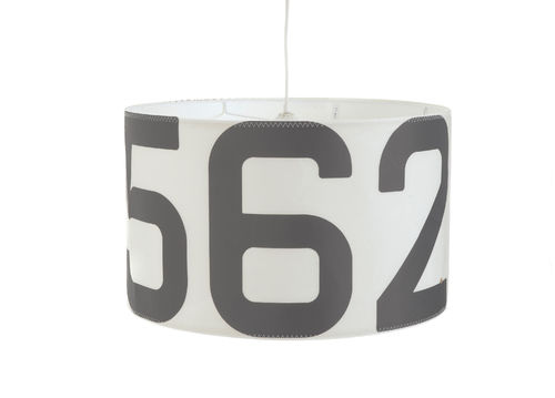 Suspended lamp made of recycled sailcloth.