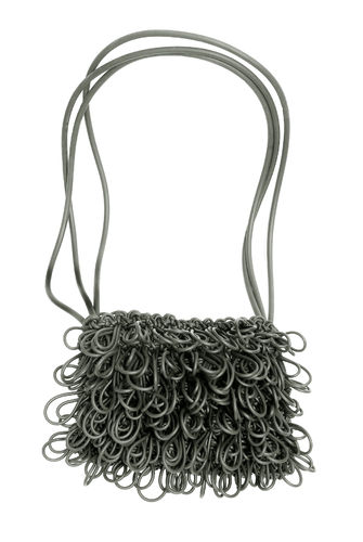 FIZZY - Shoulder bag in Neoprene yarn. Hand knitted.