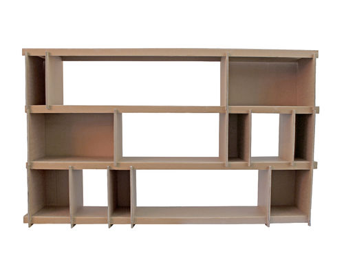 Library shelf in cardboard with 13 bins.