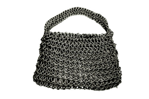 CLASSIC - Handle bag in Neoprene yarn. Hand knitted.