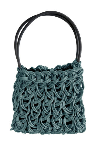 CHARMY - Handles bag in Neoprene yarn. Hand knitted.