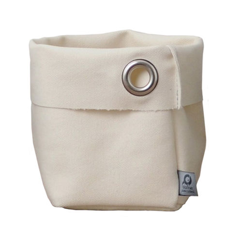 Multipurpose little sack in canvass stone. White
