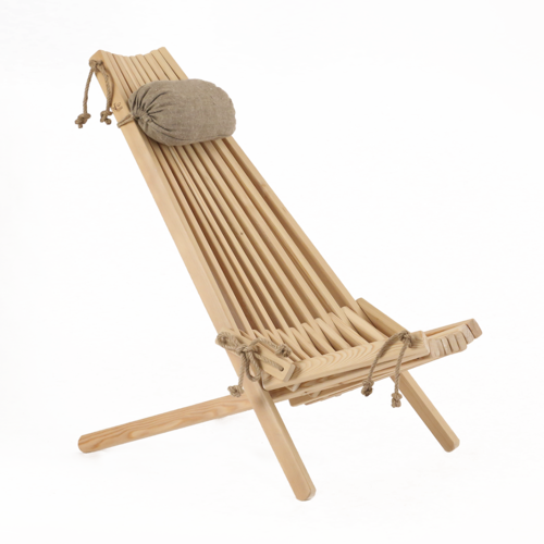 ECO CHAIR made of massive LARCH WOOD with linen pillow for more confort.