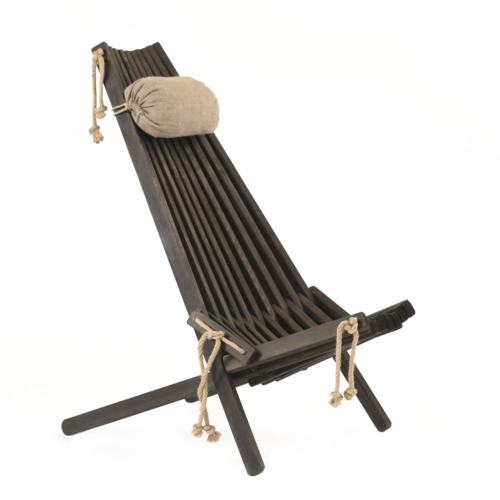 ECO CHAIR made of massive PINE WOOD - BLACK colour - with linen pillow.