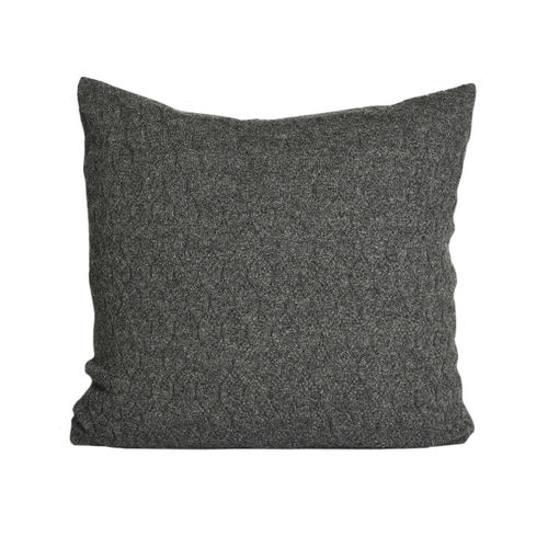 Cushion 50X50 in 100% Baby Llama wool, hexagonal structure. ANTHRACITE colour.