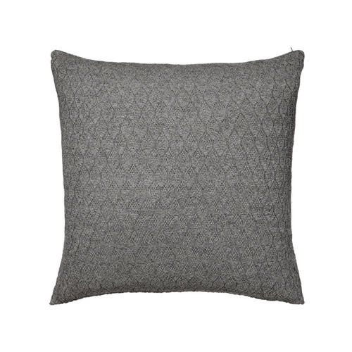 Cushion 50X50 in 100% Baby Llama wool, hexagonal structure. DARK GREY colour.