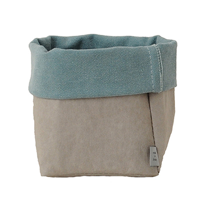 Little sack in cellulose fiber and fabric. Grey / Turquoise
