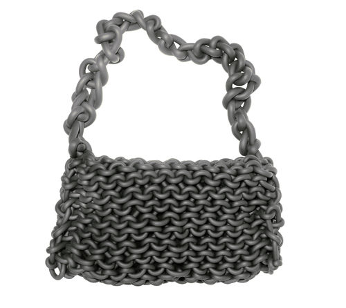 JOY - Shoulder bag in Neoprene yarn. Hand knitted.