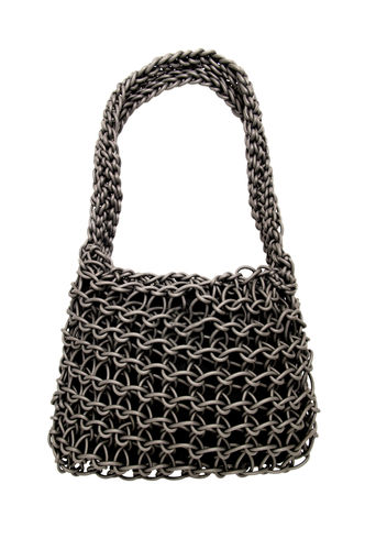 HAPPINESS - Shoulder bag in Neoprene yarn. Hand knitted.