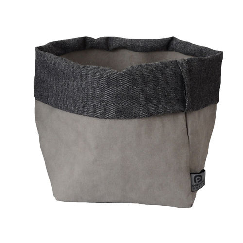 Little sack in cellulose fiber and cotton melange fabric. Grey / Dark Grey