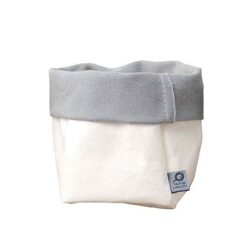 Little sack in cellulose fiber and fabric. White / Grey