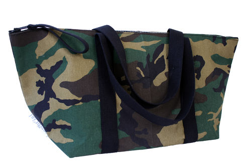 XXL Big travel bag in CAMOUFLAGE fabric and cellulose fiber.