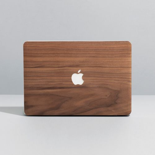 MacBook Skin in Walnut Wood, hand levigated.