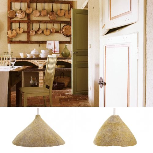 2 suspended lamps set made in BOILED WOOL.