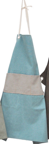 Apron in canvass stone fabric w/pocket. Colore - Turquoise/Grey -
