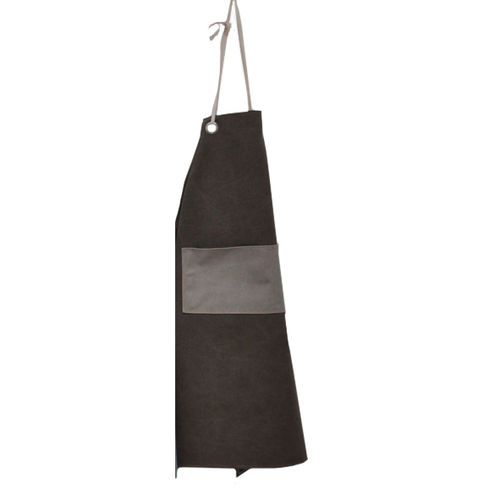 Apron in canvass stone fabric w/pocket. Colore - Brown/Grey -