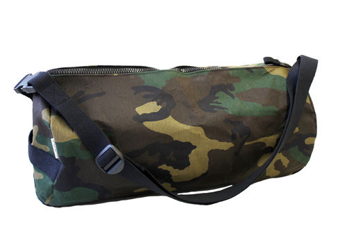 CAMOUFLAGE FABRIC and cellulose fiber travel bag Zip Cylinder . Size XL