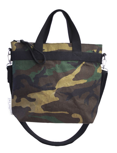 Shoulder bag in cellulose fiber and CAMOUFLAGE textile.