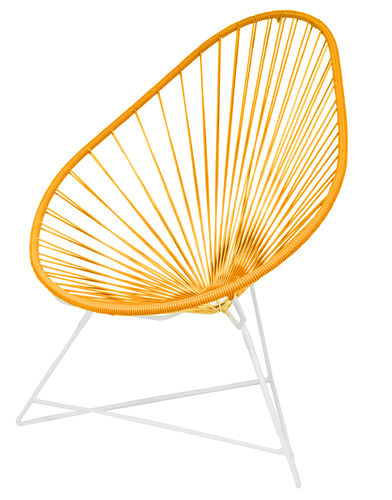 Acapulco Chair Ergonomic Shape, white frame and coloured Pvc rope.