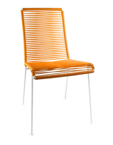 Mazunte Chair Ergonomic Shape, white frame and coloured Pvc rope.