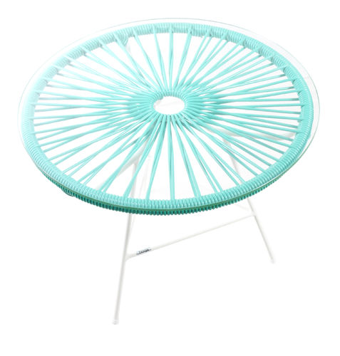 Mini Zipolite Round Table made of white steel, coloured PVC rope and glass table.
