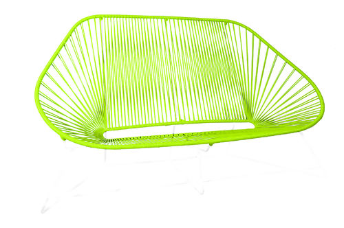 Sofa Acapulco Chair ergonomic shape, white frame and coloured Pvc rope.
