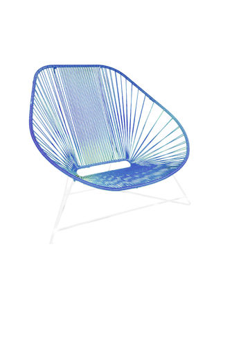 Lovely Chair Ergonomic Shape, white frame and coloured Pvc rope.