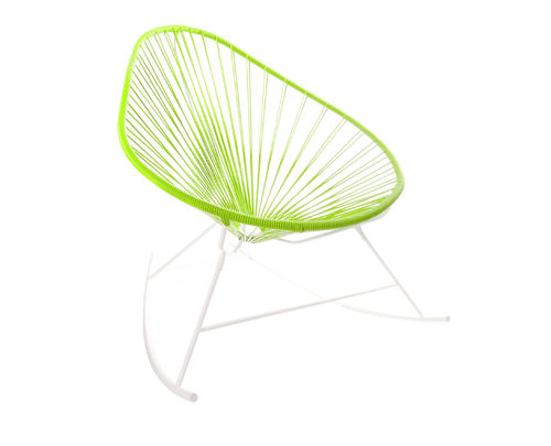 Rocking Chair Celestun ergonomic shape, white frame and coloured Pvc rope.