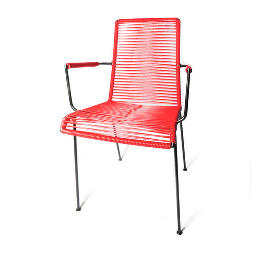 Armrest Mazunte Chair Ergonomic Shape, black frame and coloured Pvc rope.