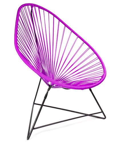 Acapulco Chair Ergonomic Shape, black frame and coloured Pvc rope.