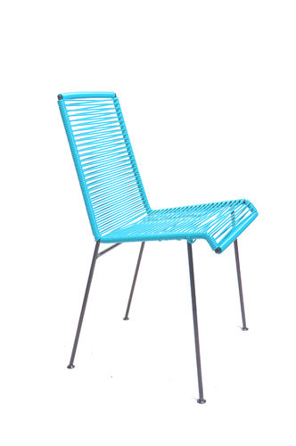 Mazunte Chair Ergonomic Shape, black frame and coloured Pvc rope.