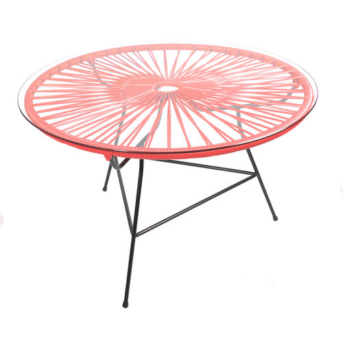 Mini Zipolite Round Table made of black steel, coloured PVC rope and glass table.