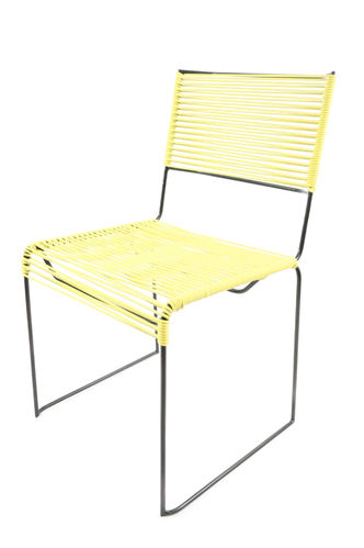 Chair Multi with Ergonomic Shape, black frame and coloured Pvc rope.