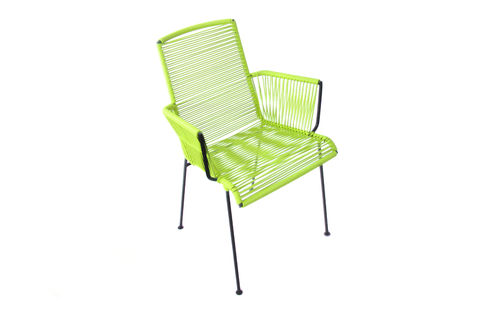 Cocoon Armrest Mazunte Chair Ergonomic Shape, black frame and coloured Pvc rope.