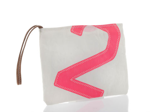 Leather Handle Clutch bag made of recycled sailcloth.