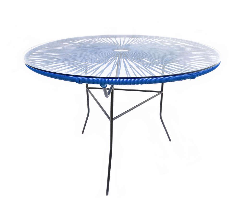 Tavolo Rotondo Vetro E Acciaio.Tavolo Grande Realizzato Con Corda Pvc Interamente Fatto A Mano