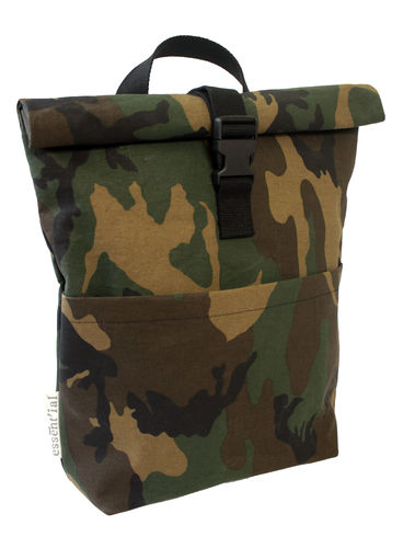 Backpack in CAMOUFLAGE FABRIC and cellulose fiber.