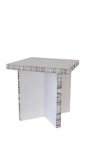 White cardboard little table.