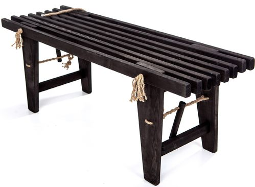 ECO BENCH made of massive PINE WOOD - BLACK  colour -