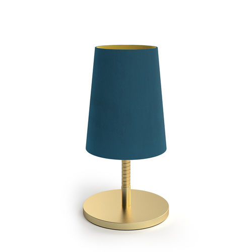 Velvet Shade Table Led Lamp - Peacock Blue -