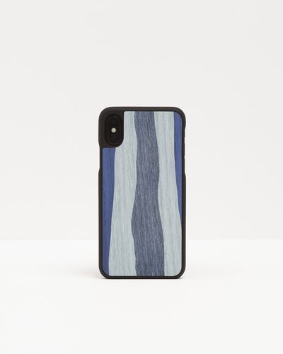 Wood Cover with inlayed decorations - MONOCHROME BLUE -