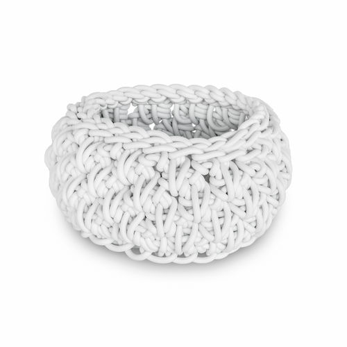 RIC CPL1 - Basket in Neoprene yarn, hand knitted - diam. cm. 16 x h cm. 8 -