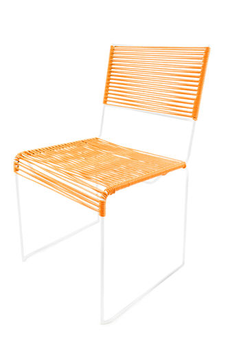 Chair Multi with Ergonomic Shape, white frame and coloured Pvc rope.