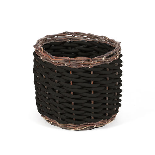 TWI T25 - Basket in Neoprene yarn and wooden twigs, hand knitted - diam. cm. 40 x h cm. 28 -