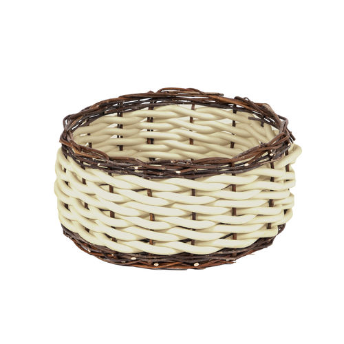 TWI T30 - Basket in Neoprene yarn and wooden twigs, hand knitted - diam. cm. 45 x h cm. 22 -