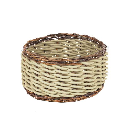 TWI T40 - Basket in Neoprene yarn and wooden twigs, hand knitted - diam. cm. 30 x h cm. 28 -