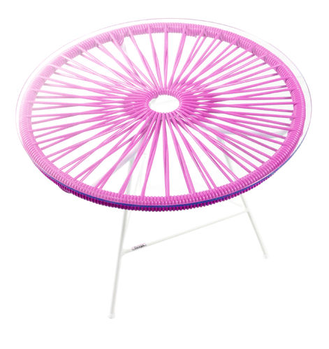 Zipolite Round Table made of white steel, coloured PVC rope and glass table.