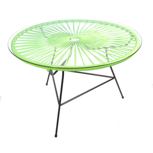Zipolite Round Table made of black steel, coloured PVC rope and glass table.