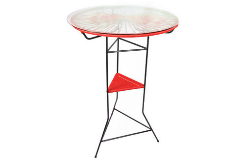 Tampico High Table made of black steel, coloured PVC rope and glass table.